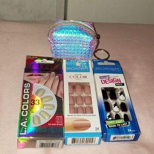 Press on nail & coin purse bundle fake nails
